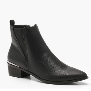 Black Pointed toe metallic trim booties